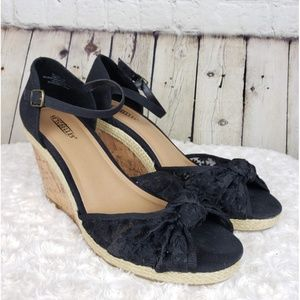 Anthro Seychelles Black Floral Open Toe Wedges